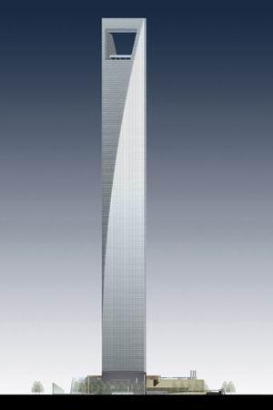 طرح نهایی ساختمان مركز مالی جهانی شانگهای با فضای خالی مربع شكل در بالای برج